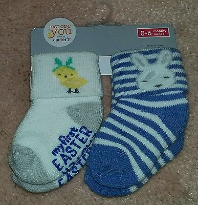 "Carters JOY Baby Boy 2-Pair Pack Socks 0-6 Months~""MY FIRST EASTER"""