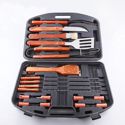 AMO 18 Piece Stainless Steel Barbecue BBQ Grilling Tools Set w/ Storage Case New