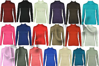 Womens Polo Neck Ladies Roll Neck Stretch Long Sleeve Turtle Neck Top Jumper