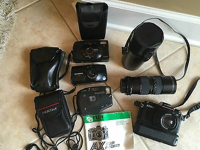 Lot of 6 Misc.Cameras FUJI AX, Promaster Lens, Olympus Stylus,FOCAL DX PC620