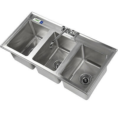 "37"" Three Compartment FAUCET 10"" x 14"" x 10"" Bowl Stainless Steel Drop In Sink 3"