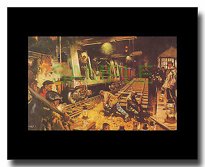 Track Laying at Night framed picture Terence Cuneo
