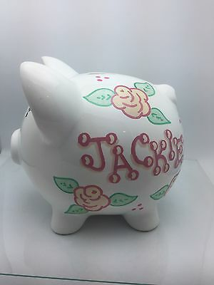 Personalized with your name girls ceramic piggy bank
