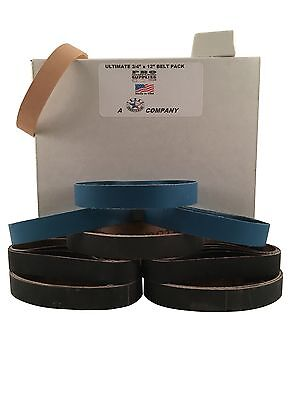 """3/4""""x12"""" Ultimate Belt Pack - 5 each of 8 Grits + Leather Strop Belt Made in USA"""
