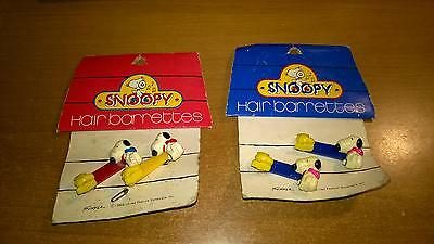 Lotto 4  Mollette Per Capelli Peanuts Snoopy Schulz Vintage Hair Barrettes