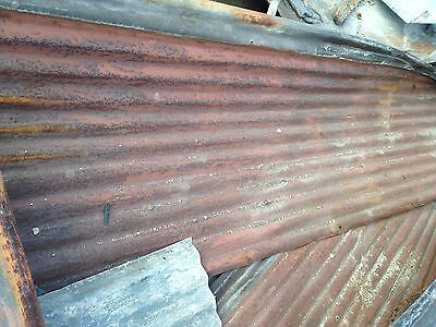 "Reclaimed Vtg Salvage  Metal Tin Roofing Corrugated Sheet Pane Siding  34"" X 12'"