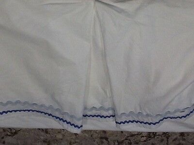 Pottery Barn Kids Baby crib bed skirt White with blue and blue/gray wavy ribbon