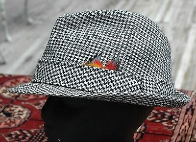 Vintage 60s DOBBS 5th Ave New York Houndstooth Feathered Fedora Wool Hat 7 3/8