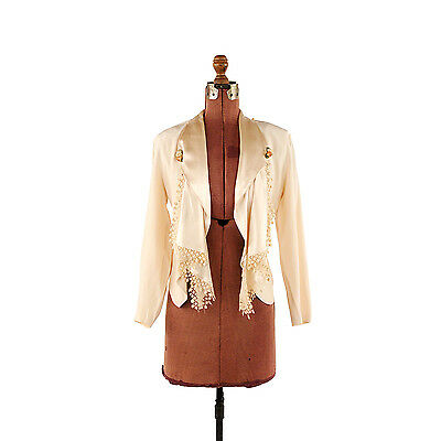 Vintage 80s 90s Cream Romantic Satin Waterfall Split Back Blazer Spring Jacket S