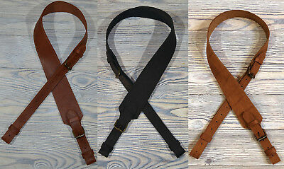 Hunting Shotgun Rifle Sling Strap Padded - Three Colors of Genuine Leather