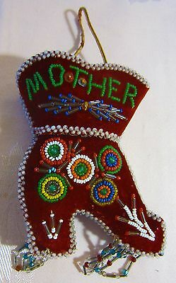 Antique Beaded Souvenir Pin Cushion,Mother,Boot,Iroquois American Indian,Whimsey