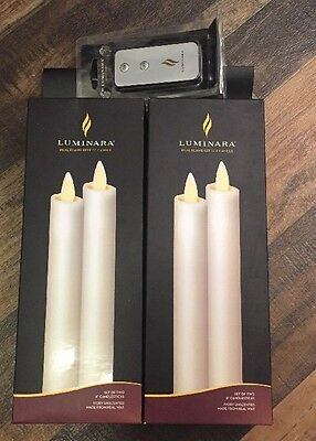 """Four pc Luminara Candle 8"""" Flameless Candlesticks Unscented Ivory w/ Free Remote"""