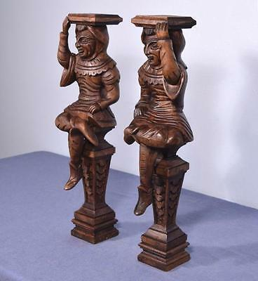 "*23"" Pair of Vintage Oak Figures/Support Posts Pillars Architectural"