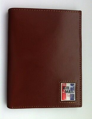 New Brown Leather USA Passport Wallet Travel Case
