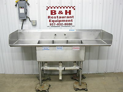 "72"" x 24"" Stainless Steel Heavy Duty Three Bowl 3 Compartment Sink 6' x 2'"