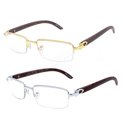 8028 Clear Lens Rosegold Silver Gold Metal Wood Effect Frames Eye Glasses Mens