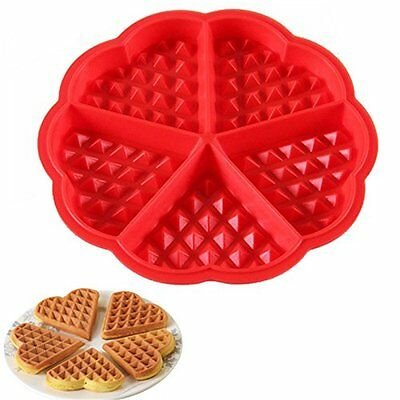 Silicone Waffles Pan Cake Baking Baked Cake Chocolate Mold Mould Tray Red