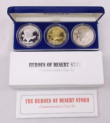 1991 Marshall Islands Heroes of Desert Storm 3-Coin Commemorative Set w/Silver