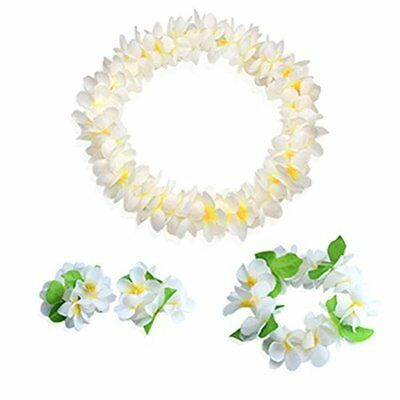 Hawaiian Luau white flower Leis Jumbo necklaces bracelets headband set
