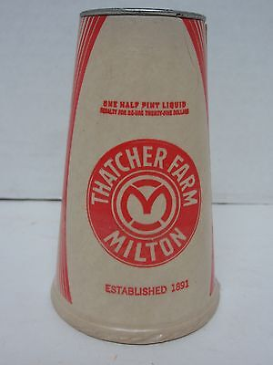 Vintage Thatcher Farm, Milton, Ma. - One Half Pint Milk Container - Never Used