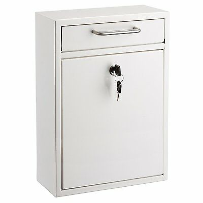 AdirOffice Locking White Large Steel Drop Box Wall Mounted Mailbox