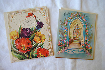 Lot of 2 Vintage Easter Greeting Cards 1940s or 1950s, Unused