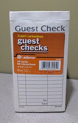 Adams SA108A 2-Part Carbonless Guest Receipt Checks 10 Books 50/book Restaurant