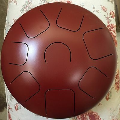"""12"""" Steel Tongue Drum C Major Natural Scale,Free Chakra Music CD+bag+mallets,RED"""