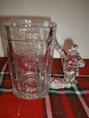 Coca Cola Clear Glass Santa Claus Handled Holiday Stein Mug