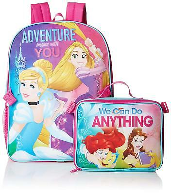 Disney Princess Girls Pink School Backpack Heart Lunch Box Book Bag Cinderella