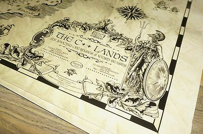 C++17 Lands CPP World Ancient Old Vintage Style Map Print Poster 36x24 Laminated