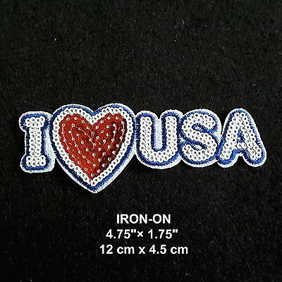 """I LOVE USA"" Flag Iron-on Sequin Embroidered Patriotic Patch American Applique"