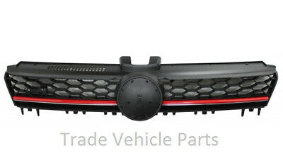 Vw Golf Mk7 2013-2017 Front Main Centre Grille Gti Black With Red Slats New