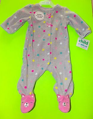 65449f5ff Child Of Mine Carter's Fleece Pink Kitten Footed Sleeper Pajamas NWT Size  0-3M