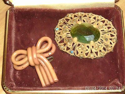 Classic  Vintage Plastic Celluloid Art Deco Pins Jewelry Lot Old Intact