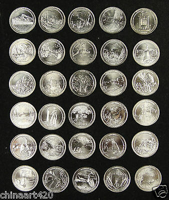 United States America National Park Quarters Coins Set of 37 Pieces 2010-2017