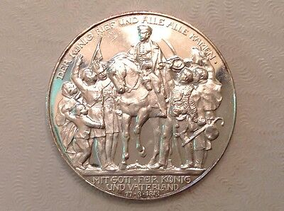 - Germany 1913 Prussia Three 3 Marks 100 Years Defeat of Napoleon Rare Proof