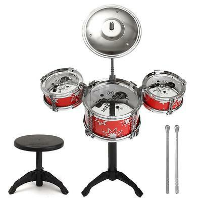 Toy Cubby Kids Toddler Rock, Jazz and Country Band Mini Desktop Drum Set - (Red)