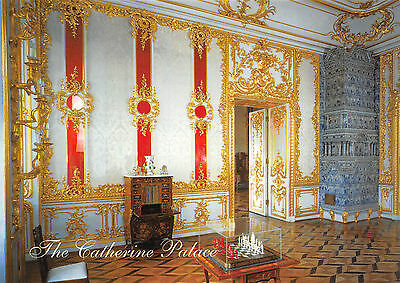 Russia Pushkin Catherine Palace The Crimson Room Chrome Postcard Unposted View