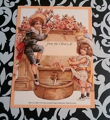 Beautiful Victorian Qualtiy Artworks Floral Children Girl & Boy Bookplate Unused