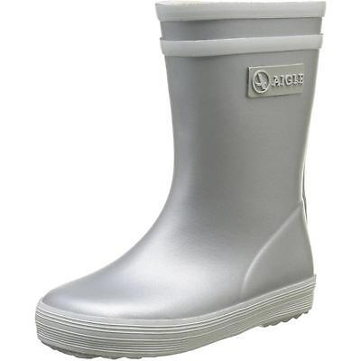 Aigle Baby Flac Silver Rubber Wellingtons Boots