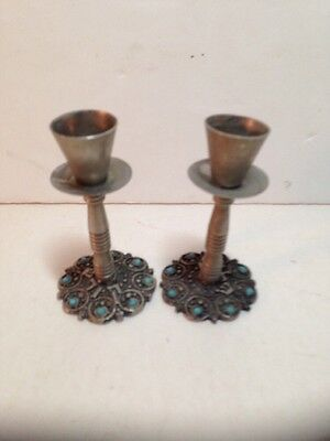 Pair Of Vintage Shabbat Candlesticks Judaica Candle Holders 3.5""