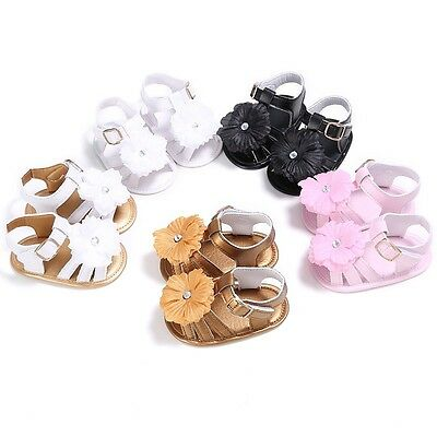0-18M Infant Baby Girl Leather Sandal Toddler Kid Prewalker Soft Crib Sole Shoes