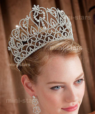 Large Pageant Beauty Contest Crown Tall Tiara Adjustable Wedding Party AT1587