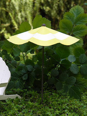 Miniature FAIRY GARDEN Accessories ~ Yellow & White Striped Beach Umbrella ~ NEW
