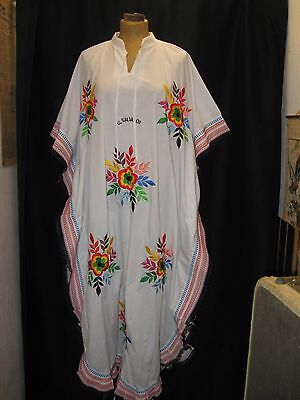 Vintage 1970's White Red Blue Green Yellow Embroidered Hippy Tunic Dress Yars M