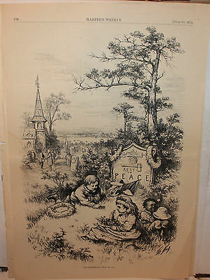 "Original June 10 1871 Harper's Weekly illustration "" Decoration Day May 30 1871"