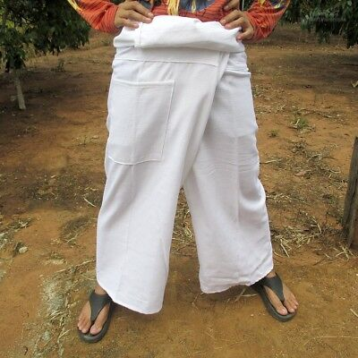 Fisherman Pants Chenamai Cotton Comfy Wide Fit Casual Everyday In White sz M