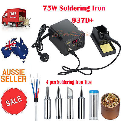 937D+ 75W Digital Display Soldering Iron Station 4 Tip Lead Welding Tool Kit AU