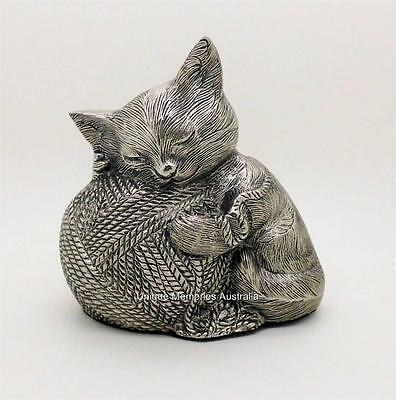Silver Kitty Cat Yarn Ball of String Pet Memorial Cremation Cinerary Funeral Urn